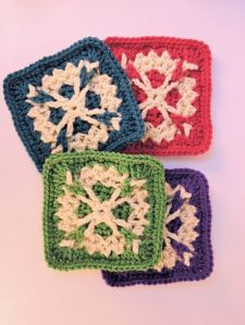 Come in 4 different colors as seen here. And each snowflake on them is unique. Well, sort of.