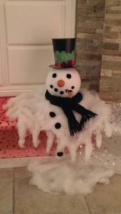 Don't worry, this is just a Christmas melted snowman decoration. It's made from cotton and styrofoam. So don't cry all about it.