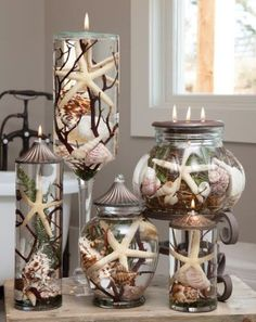I think these are lit with a wick. The seashells are in a glass jars. Not sure if I call that fire safe though.