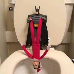 Sure Batman doesn't like killing, Rumple. But you must've done something really bad for him to hang you into the toilet.