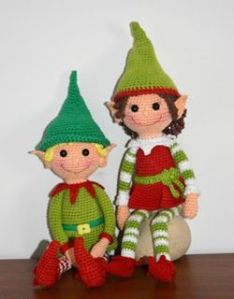 Of course, these crocheted elves are much more adorable and much less creepy than the Elf on the Shelf. And you don't have to worry about them being naughty.