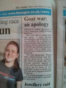 What makes me scratch my head more when reading this isn't the corrections. It's why this newspaper had a goat war article in the first place. Because that seems more or less inspired by an acid trip to me.