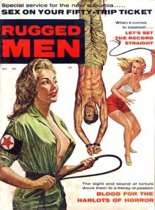Because nothing makes a man more rugged than having 2 sexy blondes tie his hands and feet, hoist him up without his shirt on, and whip him senseless. Think about it as Fifty Shades of Grey om reverse.