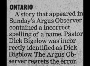 You have to feel for Pastor Dick Bigelow here who was incorrectly identified as Dick Bigblow. You know the kind of name that reminds you of a male porn star.