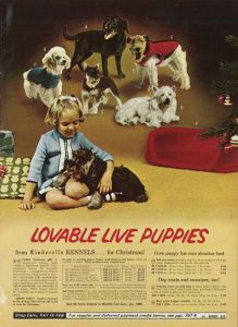 For the love of God, don't give your kids a puppy for Christmas since dog ownership is a 10-15 year commitment. Seriously, don't do it. This ad sets a very disturbing trend because a lot of Christmas puppies end up neglected.