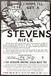 "From Retail Hell Underground: ""We can't emphasize enough that this 1906 ad is for real guns. Not cork guns or BB guns -- actual, ""hunt your own food and shoot a man down in cold blood"" guns. And this one is being placed beside a sleeping child by a visibly conniving Santa, as if he's preparing the kid for some Christmas morning Hunger Games in which only the sole survivor gets the stocking."""