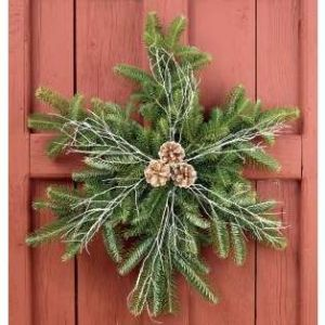 This one has branches with pine cones and bare twigs. Has an naturalistic air to it that's perfect for a winter cabin.