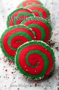They're cookies made from a roll that's green and red with sprinkles on the edge. Not sure if they're made from scratch but I'll add them to this post.