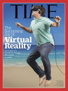 So is this guy really at the beach experiencing a different virtual reality. Or is that beach a virtual reality? I can't tell.