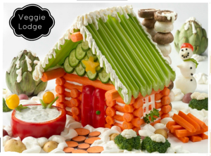 This has a carrot log cabin, a celery and cucumber roof, and a pepper door. And yes, I bet it's held together by dip and dressing.