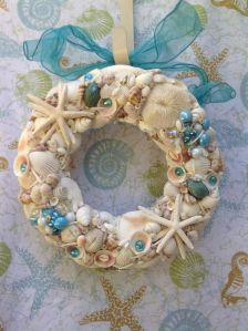 Well, it's a lighter shell wreath with some unconventional seashells. But it's nevertheless unique.