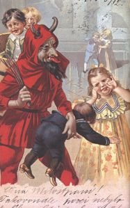 However, this card doesn't help that Krampus smacks the smallest kid while the other children seem straight from your nightmares. Wish he went after the girl in the yellow dress. She's creepy.