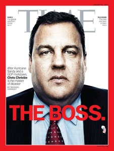 This issue appeared in the aftermath of Hurricane Sandy. However, the mob boss style photo treatment is actually quite fitting for the shady New Jersey governor who caused a massive traffic jam out of spite.