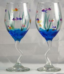 These have an underwater scene to them. The glass handles are even wavy as well.