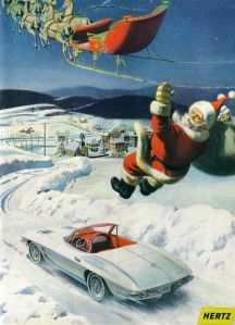Uh, Santa, I'm sure you really like that car. But seriously, falling into it from your sleigh really isn't a good idea. The next place could be the ER. Or six feet under.