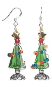 These are made from beads and wire. The smaller ones wrap around the large green ones as Christmas decorations.