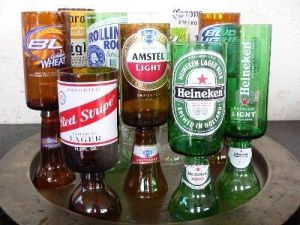 Well, these beer glasses are made from beer bottles. So feel free to put a Bud Light in a Rolling Rock one.