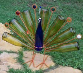 Well, isn't that as pretty as a peacock. Of course, some may not have a thing for green bottles as feathers.