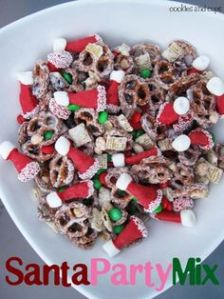 And Santa hats it certainly has. But don't forget about the green M&Ms and the frosted pretzels.