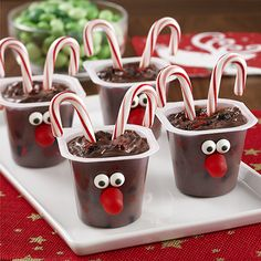 Each of them comes with candy cane antlers and a red gum drop nose. So adorable.