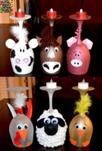 Includes cow, horse, pig, rooster, sheep, and chicken. Yes, they look childish but you can't hate them.