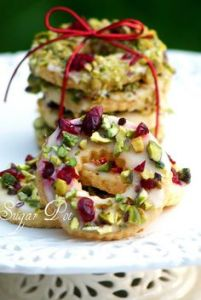 These are decorated with lemons, pistachios, and cranberries. Yet, many would think these delicious.
