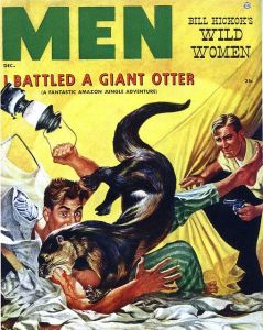 Yes, the giant otter springs to attack some guy in his tent during the night. And that otter is about to have a lamp smashed at it.