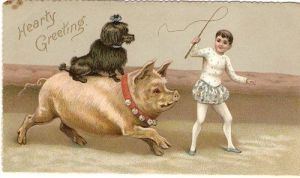 I really have no idea what the hell this has to do with Christmas. Yet, let's hope the dog and pig don't get whipped by the kid.