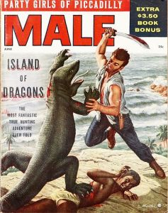 Wonder if this inspired the Star Trek episode where Captain Kirk fights Gorn. Though the man wouldn't use a sword. And the black guy gets trampled.