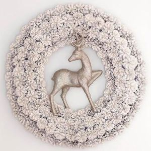 Now this one is quite stunning. Love the shiny deer and the silver wreath decor.