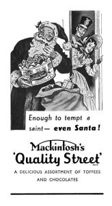 Then again, Santa is overweight and prefers baked goods so it's not too much of a stretch. However, he should beware of Bo Peep and the giant toy soldier behind him.