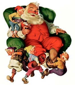 So Santa gets to relax with the elves who do everything for him for who who knows what. Also, Santa usually drinks Coca Cola from the bottle. An elf shouldn't pour a glass for him.