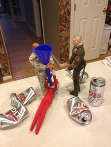 And it seems the GI Joes had him drink a lot of beer in the meantime. Wait until Santa hears about this.