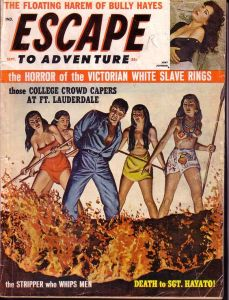 Things really don't seem great for that guy about to be thrown into the volcano. Man, I don't think this magazine likes women.