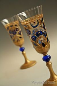 I think these are also wedding glasses with some royal blue stain. Like the moon and the peacock.