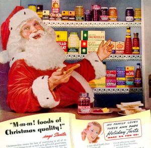 Uh, Santa, we know you like food and all. But I suggest you might want to take it down a notch. You're scaring the children.