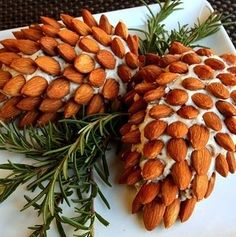 After all, Christmas trees are evergreens that produce seeds through pine cones. And these cheese balls are covered in almonds.