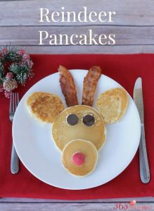 Yes, this doesn't constitute the healthiest yuletide breakfast. But I'm sure Rudolph's pancake face will give someone a smile.
