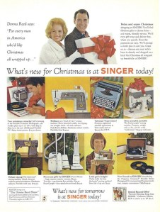 Notice in this ad that the son has a Singer record player while the daughter has a toy sewing machine. Sexist? I'll say. Besides, in those days, I'd rather have the record player or the typewriter.
