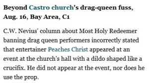 That's pretty embarrassing. Also, funny how the drag queen performer in question doesn't even use a dildo.