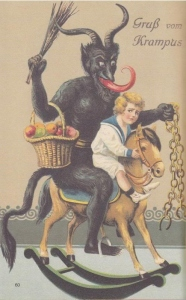 Okay, I can understand why this kid can be scared since Krampus has chains. But somehow I find it hard to take seriously.