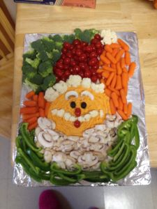 This one has the kind of healthy veggies that Santa probably doesn't eat. His face consists of hummus though.