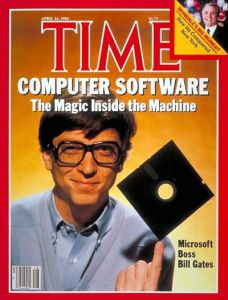 "From Mashable: ""Imagine you're Bill Gates and you get a phone call saying, ""Congratulations, you're on the cover of 'Time' magazine!"" and then, in the next breath, they say, ""but we want you to look like a stereotypical nerd and spin a floppy disk in your hands."" In 1984, this would be reality for the future richest man on Earth."""