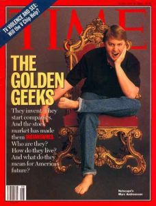 "From Mashable: ""Marc Andreessen became a BFD after Netscape went public -- and part of being a BFD meant that 'Time' would sit him in a royal chair and make him take off his shoes. And thus, the modern mythos that Silicon Valley entrepreneurs don't wear shoes was born."""