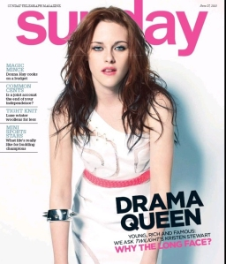 Kristen Stewart looks about as lifeless on this cover as she did in the Twilight movies. And I'm sure she's no drama queen by any stretch of the imagination.