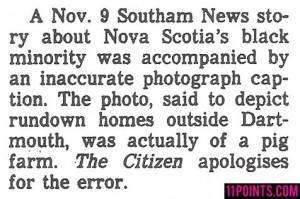Guess Nova Scotia's black residents won't be happy about this. And you thought racism was an American thing.