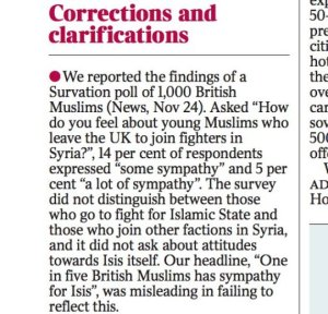 So this publication basically said that 1 in 5 British Muslims sympathizing with ISIS in a previous article. Now that's very offensive on multiple levels. Talk about perpetuating hate.