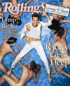 And here he is in a pool full of naked women. Uh, it's kind of established that Ricky Martin likes guys. Seriously, he's been out of the closet for a long time.