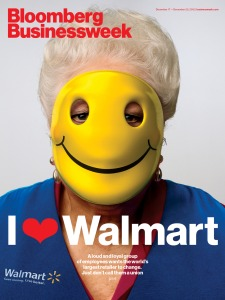 For some reason, I don't see a happy face behind that smiley face mask. It's pretty clear the smiley face is a facade of this Walmart greeter's misery.