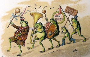 You tend to see frogs a lot in Victorian Christmas cards for some strange reason. And this consists of a frog procession. Don't ask me why.